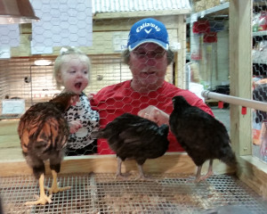 Loralei loves chickens